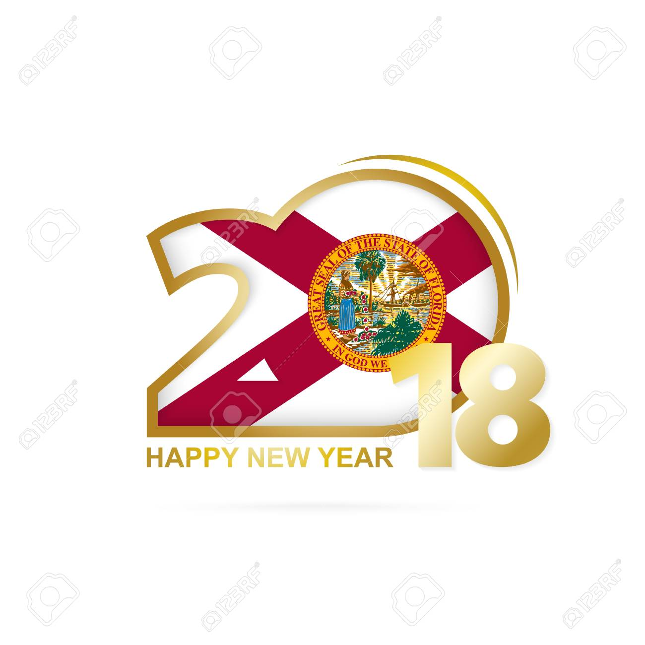vector year 2018 with florida flag pattern happy new year design vector illustration