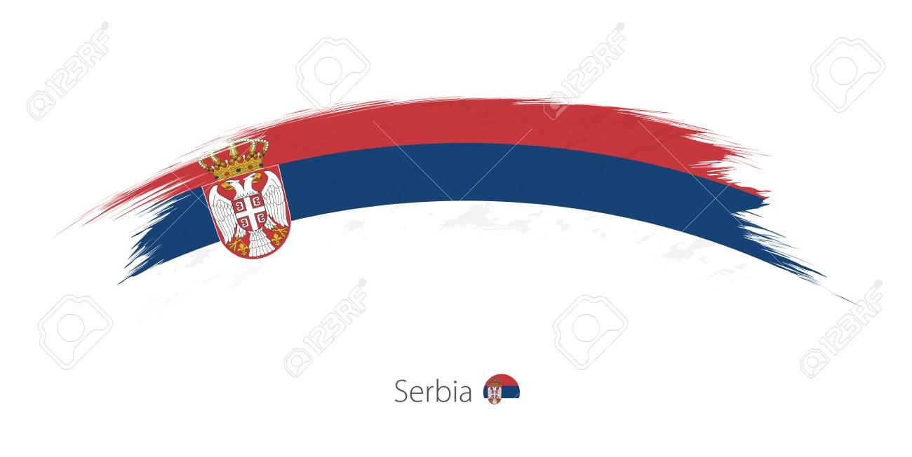 Flag of Serbia in rounded grunge brush stroke. Vector illustration. - 88526214