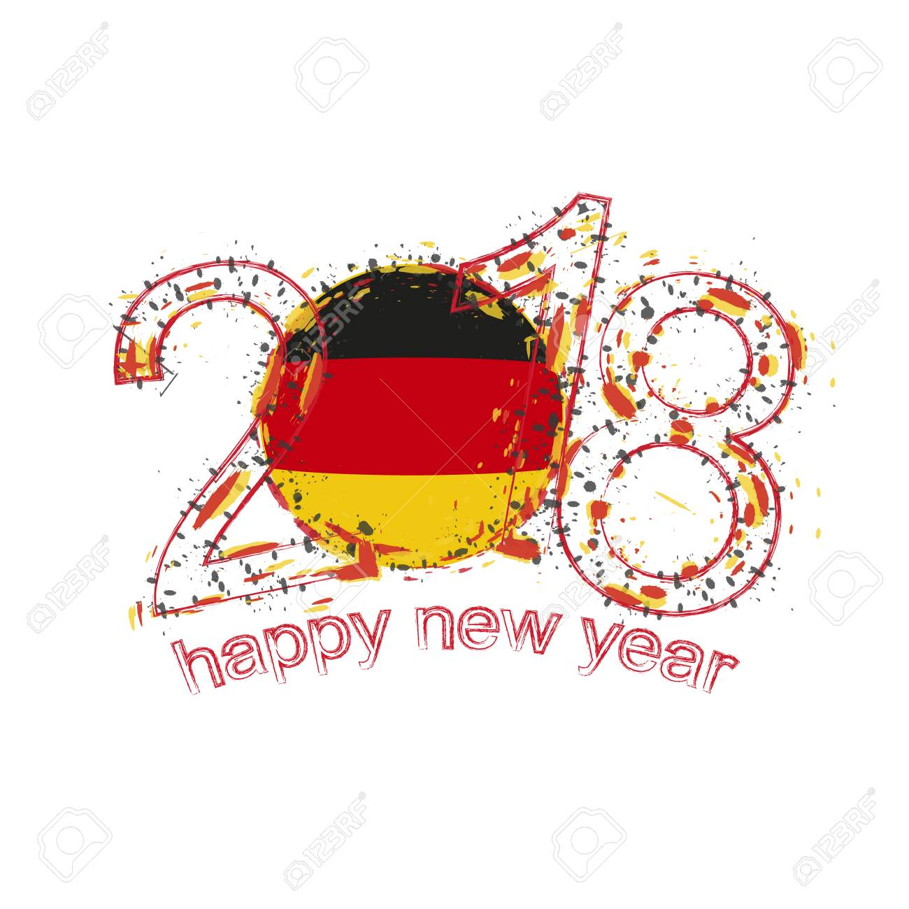 2018 happy new year germany grunge vector template for greeting card calendars 2018 seasonal