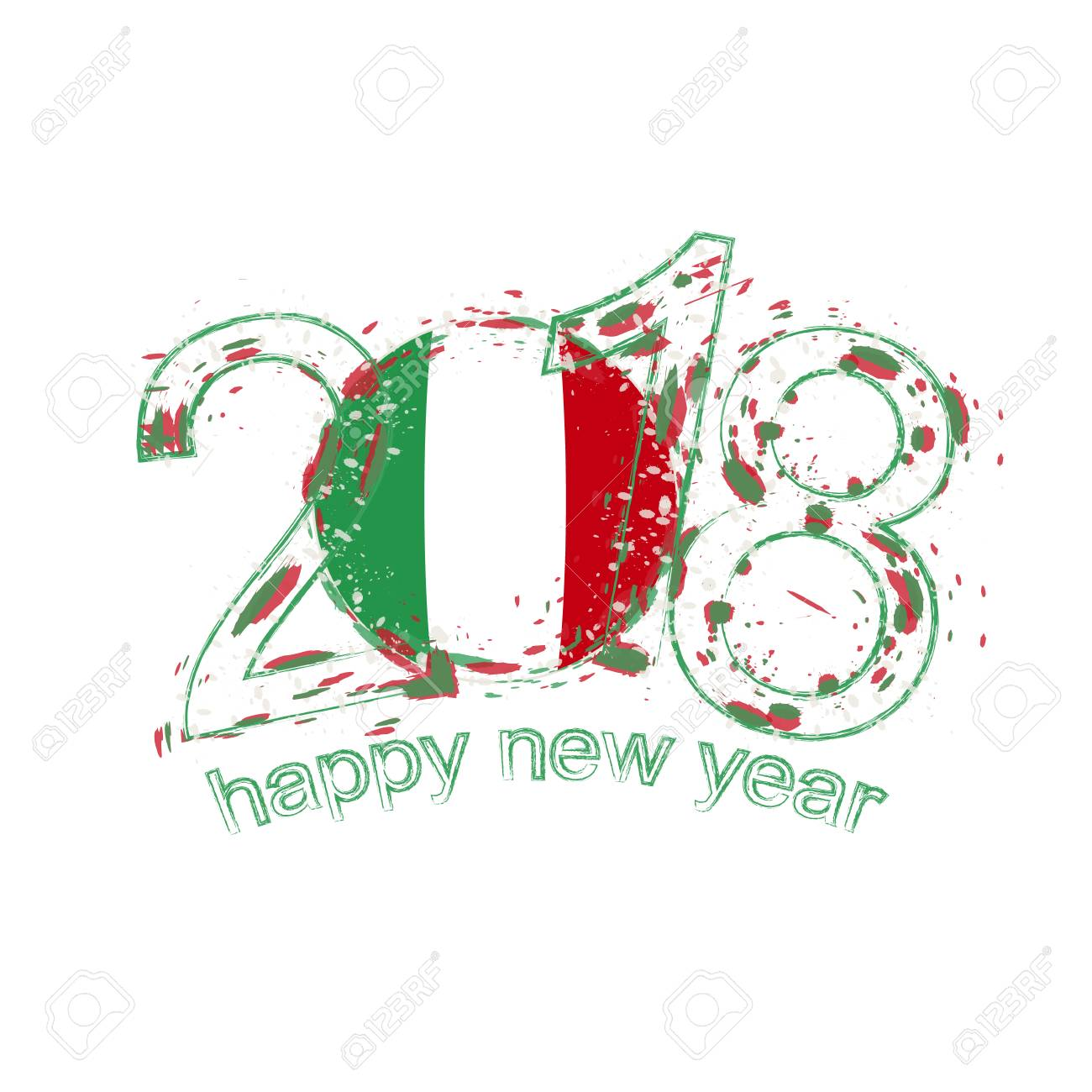 2018 happy new year italy grunge vector template for greeting card calendars 2018 seasonal