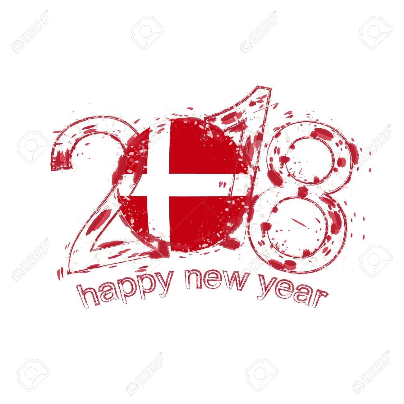 2018 happy new year denmark grunge vector template for greeting card calendars 2018 seasonal