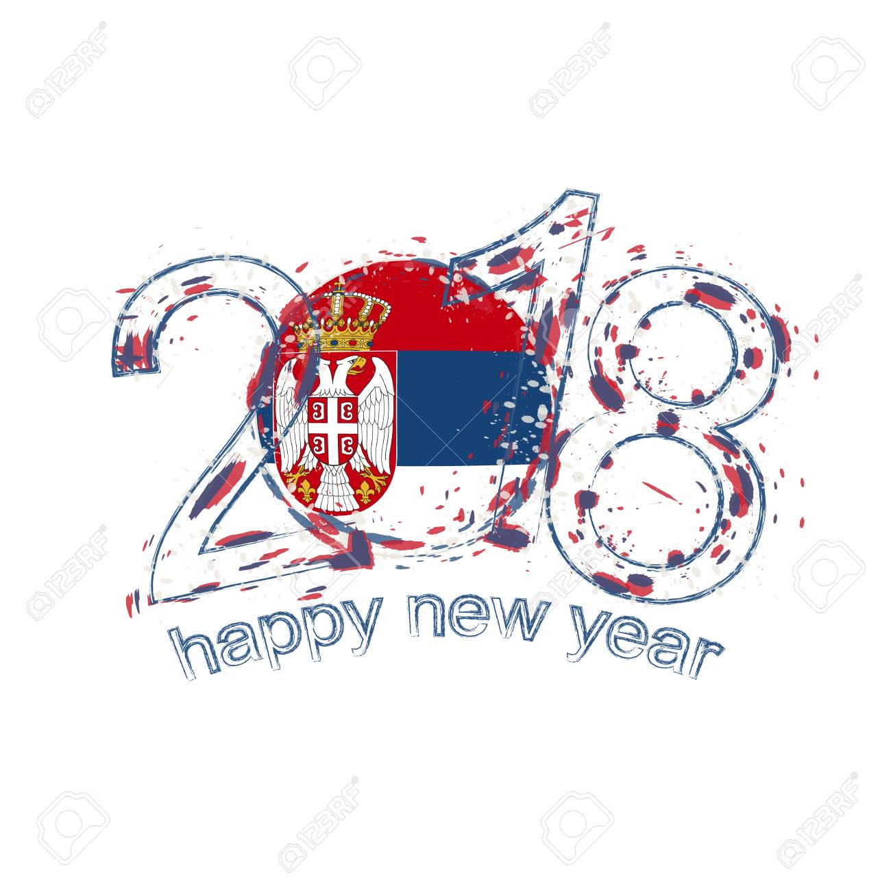2018 happy new year serbia grunge vector template for greeting 2018 happy new year serbia grunge vector template for greeting card calendars 2018 seasonal m4hsunfo