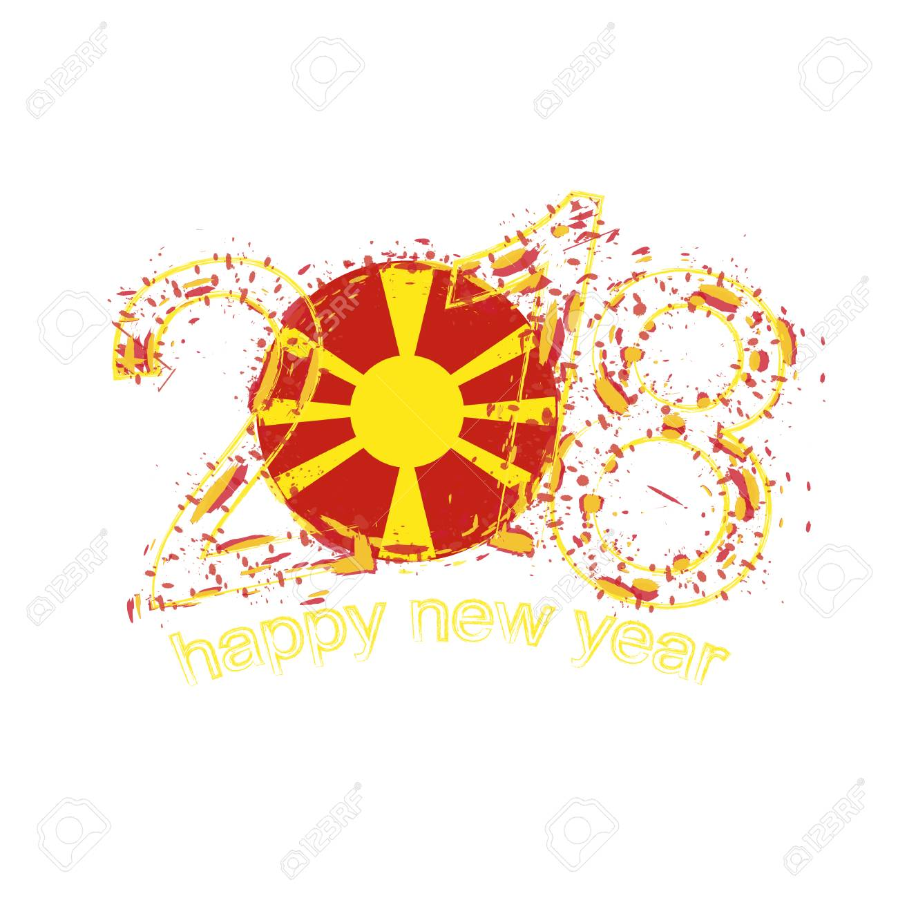 2018 happy new year macedonia grunge vector template for greeting 2018 happy new year macedonia grunge vector template for greeting card calendars 2018 seasonal kristyandbryce Images