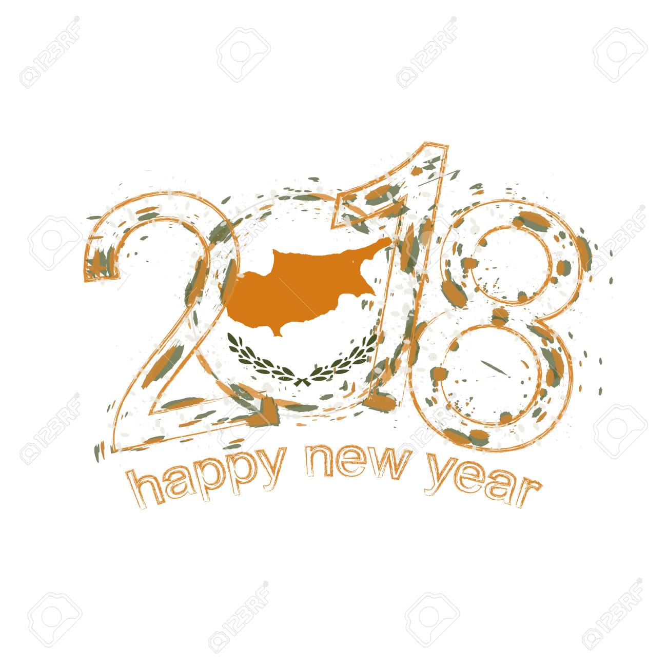 2018 Happy New Year Cyprus Grunge Vector Template For Greeting ...