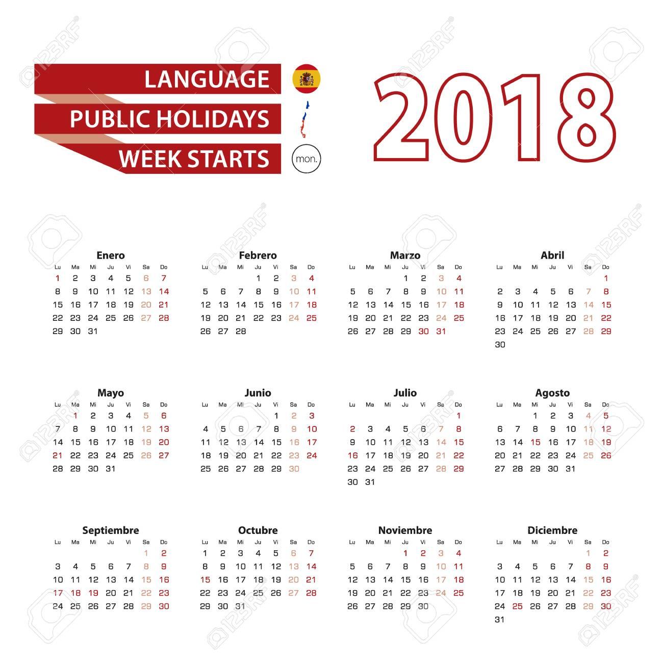 Calendario Diciembre 2018 Chile.Calendario 2018 En Idioma Espanol Con Festivos En El Pais De Chile En El Ano 2018 La Semana Comienza A Partir Del Lunes Ilustracion Vectorial