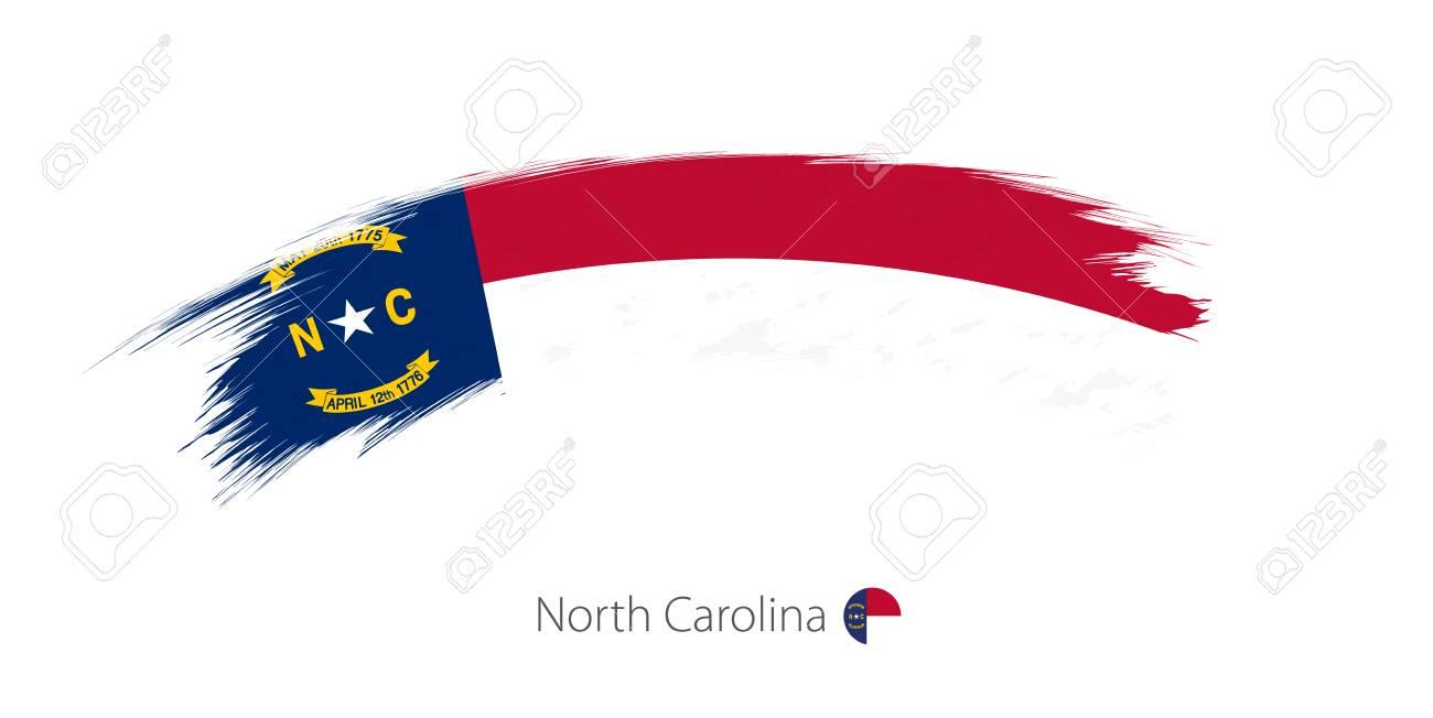 Flag of North Carolina state in rounded grunge brush stroke. Vector illustration. - 89704478