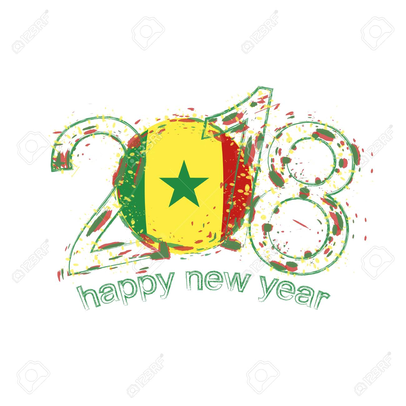 2018 happy new year senegal grunge vector template for greeting 2018 happy new year senegal grunge vector template for greeting card calendars 2018 seasonal m4hsunfo