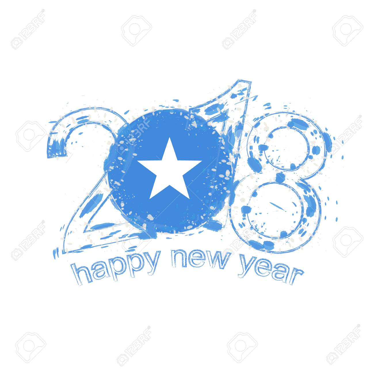 2018 Happy New Year Somalia Grunge Vector Template For Greeting ...