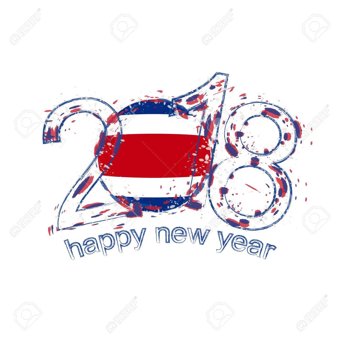 2018 Frohes Neues Jahr Costa Rica Grunge Vektor Vorlage Für ...