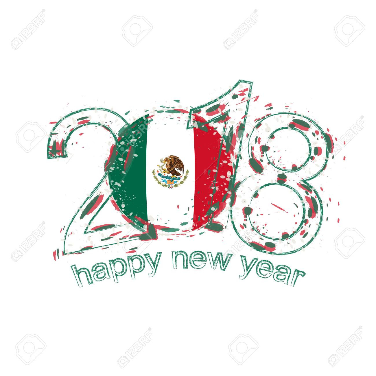 2018 happy new year mexico grunge vector template for greeting 2018 happy new year mexico grunge vector template for greeting card calendars 2018 seasonal stopboris Images