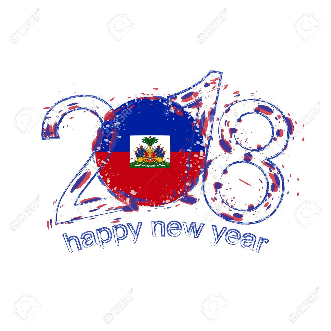 2018 happy new year haiti grunge vector template for greeting card year 2018 stock vector