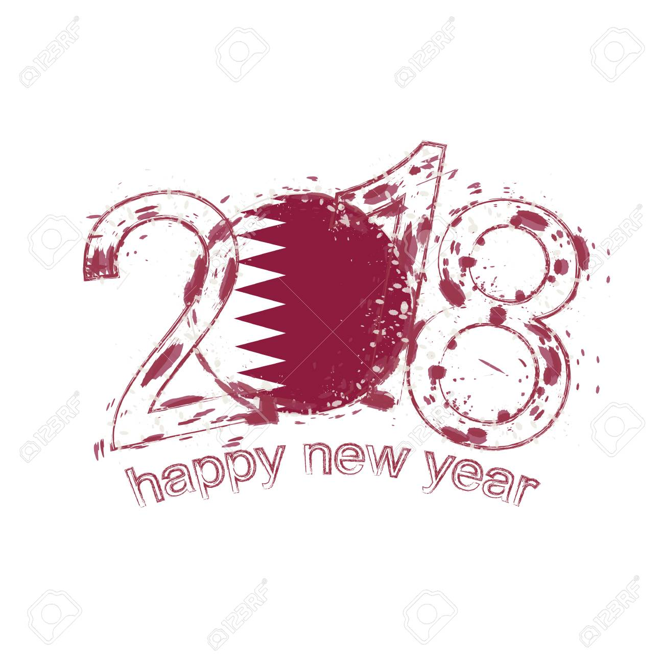 2018 happy new year qatar grunge vector template for greeting 2018 happy new year qatar grunge vector template for greeting card calendars 2018 seasonal stopboris Image collections