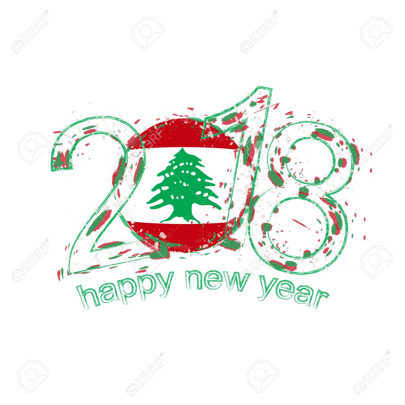 2018 happy new year lebanon grunge vector template for greeting card calendars 2018 seasonal