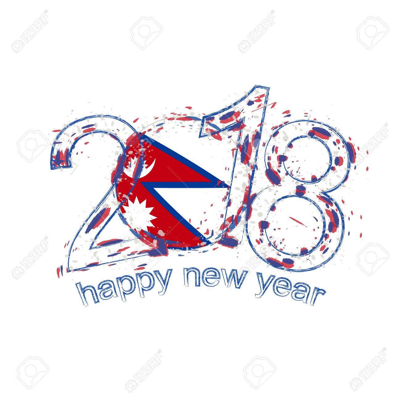 2018 Frohes Neues Jahr Nepal Grunge Vektor Vorlage Für Grußkarten ...