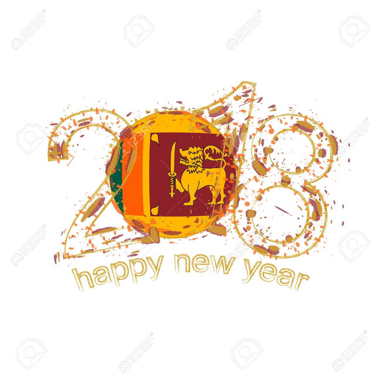 2018 happy new year sri lanka grunge vector template for greeting card calendars 2018