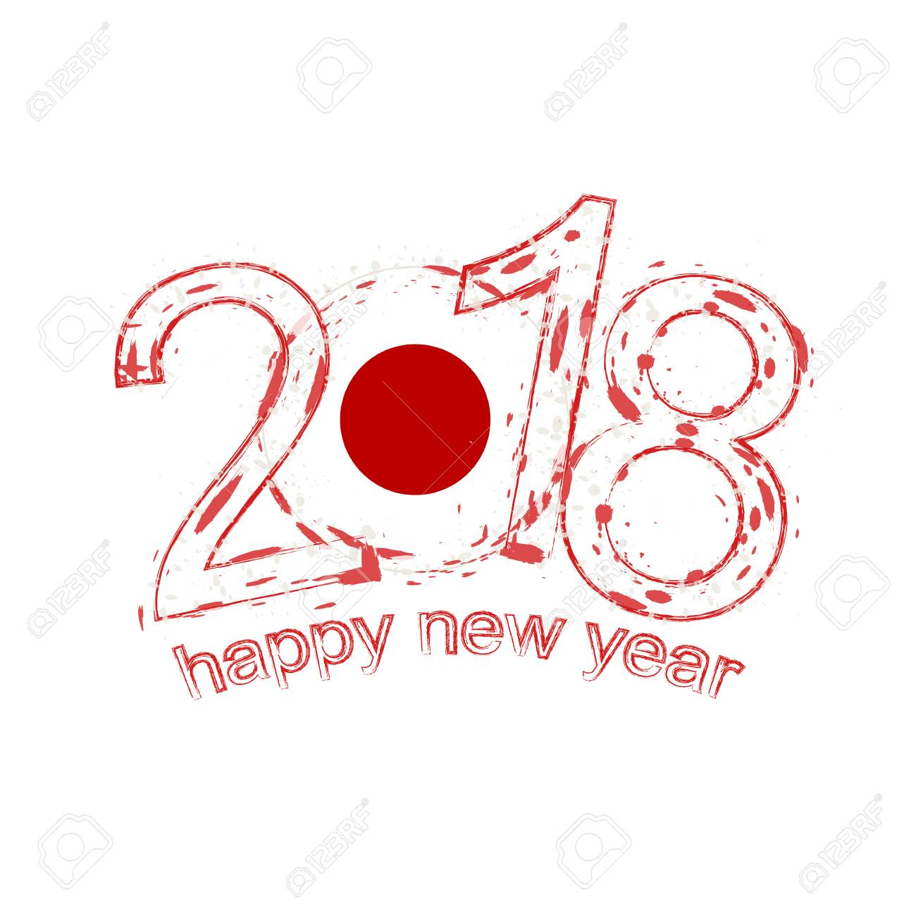 2018 happy new year japan grunge vector template for greeting
