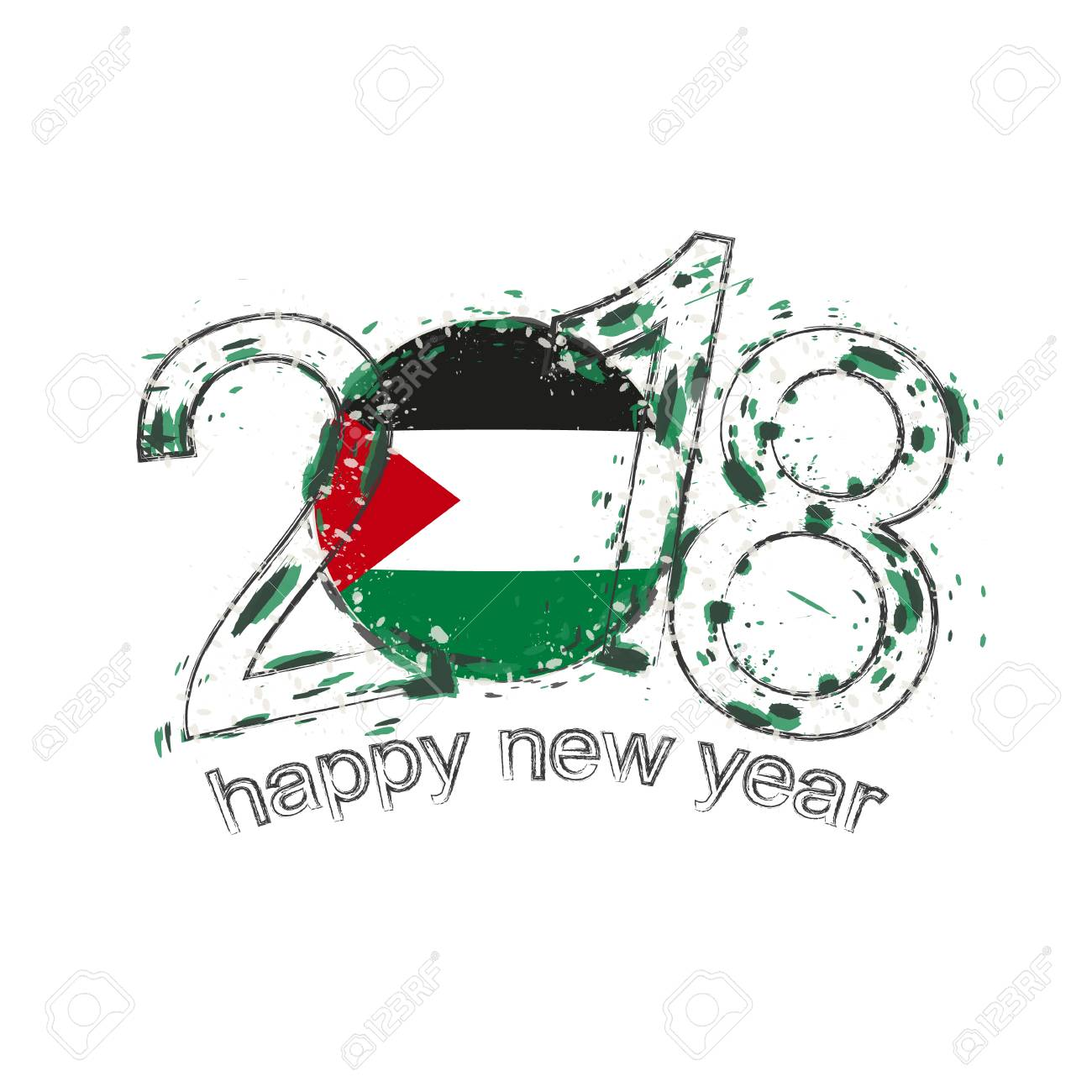 2018 happy new year palestine grunge vector template for greeting card calendars 2018 seasonal