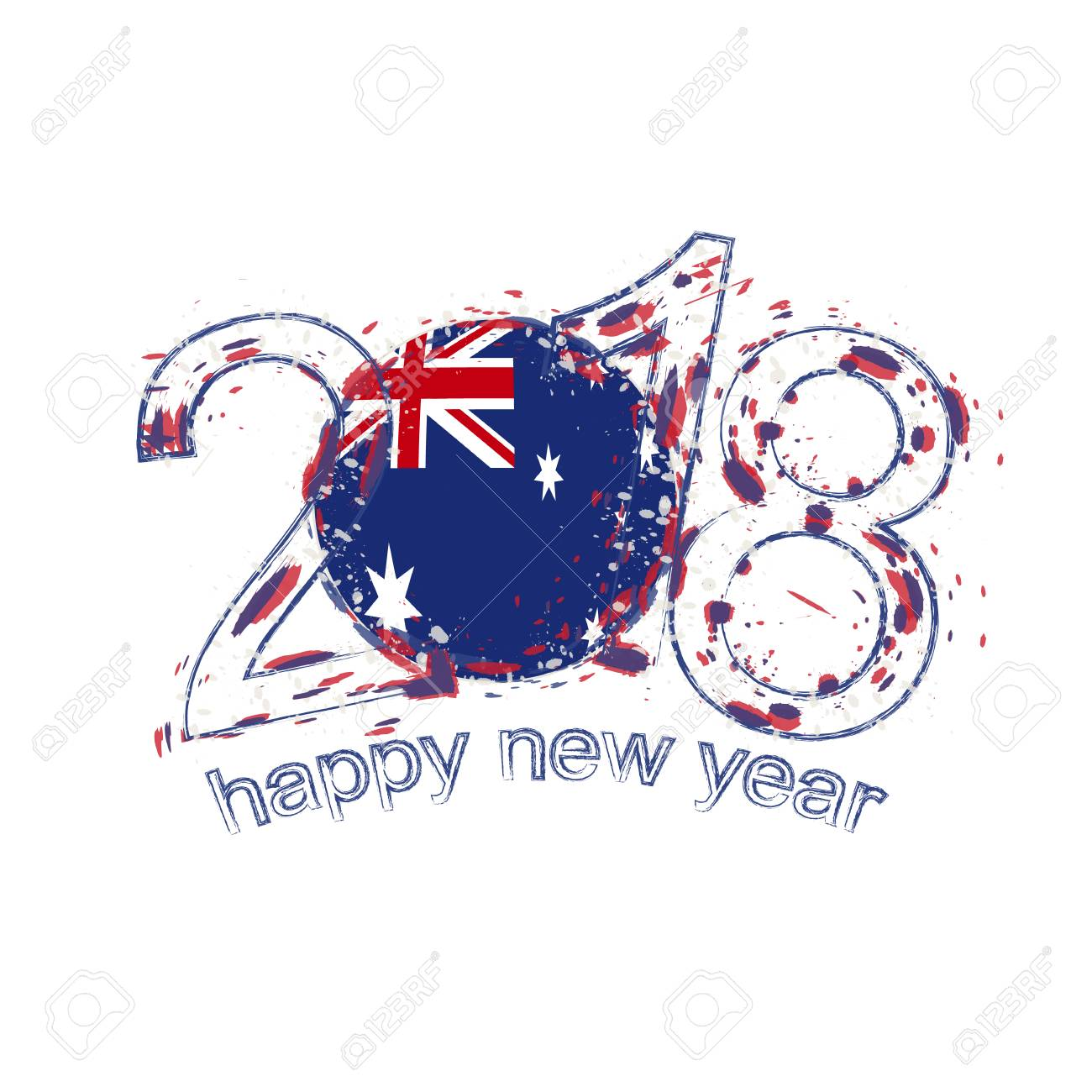2018 happy new year australia grunge vector template for greeting card calendars 2018 seasonal
