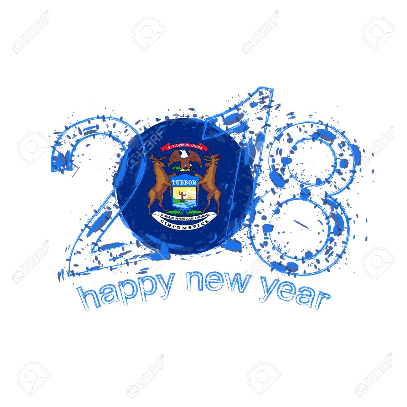 2018 happy new year michigan us state grunge vector template 2018 happy new year michigan us state grunge vector template for greeting card calendars 2018 m4hsunfo