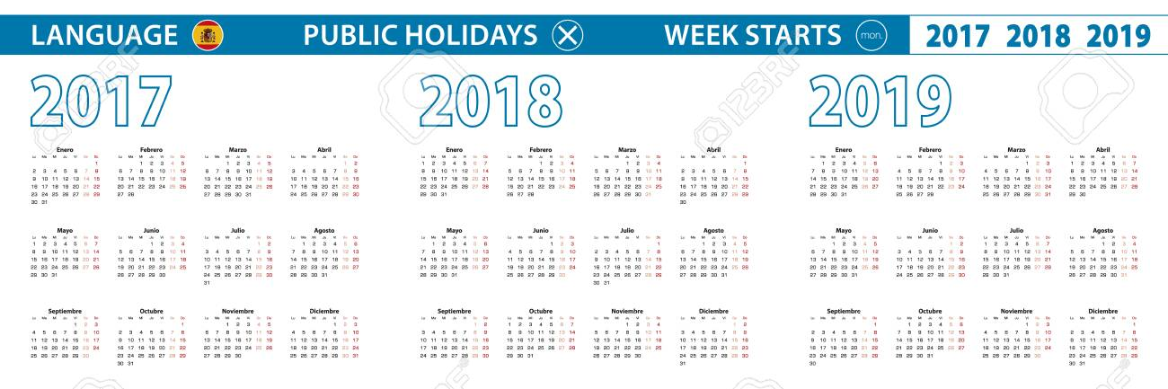 Calendario In Spagnolo.Modello Di Calendario Semplice In Spagnolo Per Il 2017 2018 2019 Anni La Settimana Inizia Da Lunedi