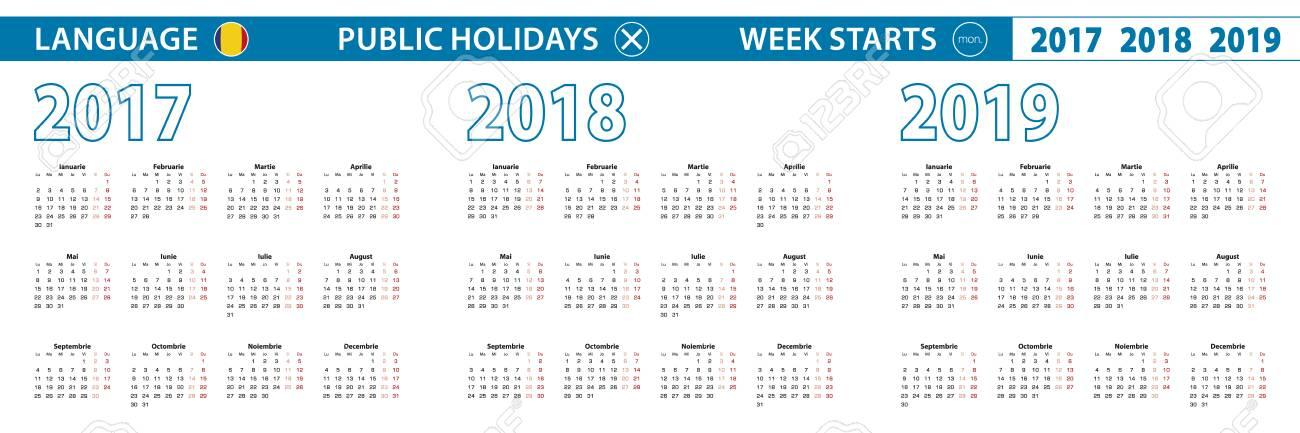 Calendario Rumeno.Modello Di Calendario Semplice In Rumeno Per Il 2017 2018 2019 Anni La Settimana Inizia Da Lunedi
