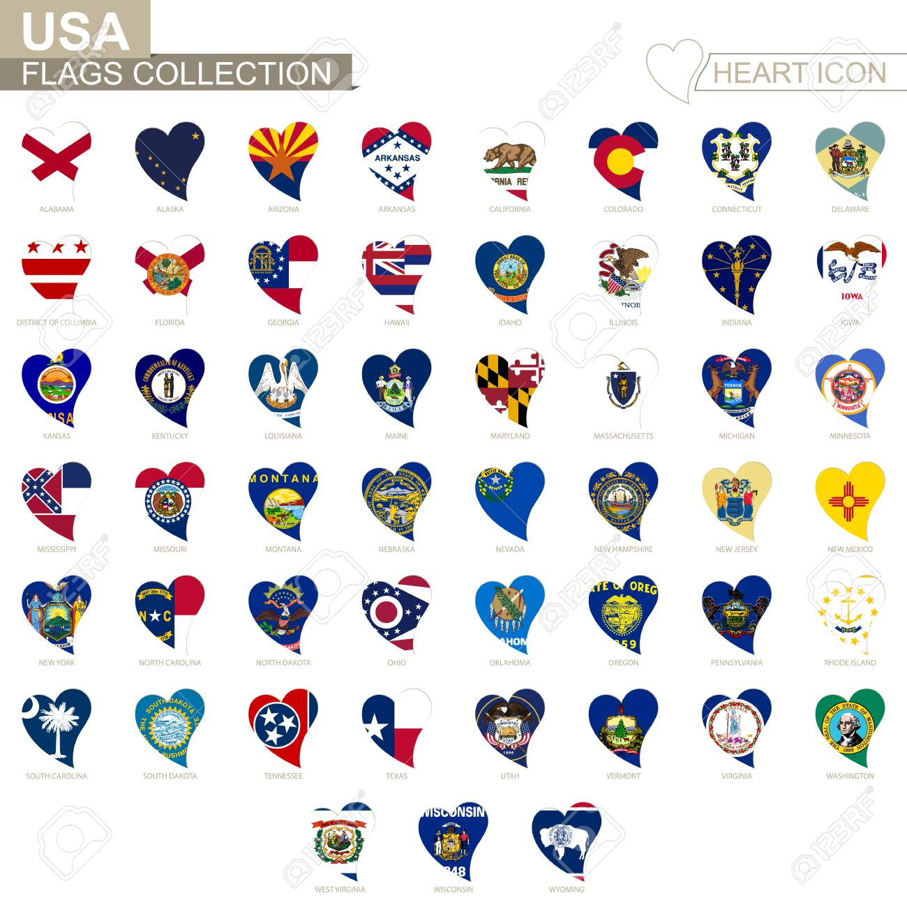 Vector flag collection of USA States. Heart icon set. - 94685307