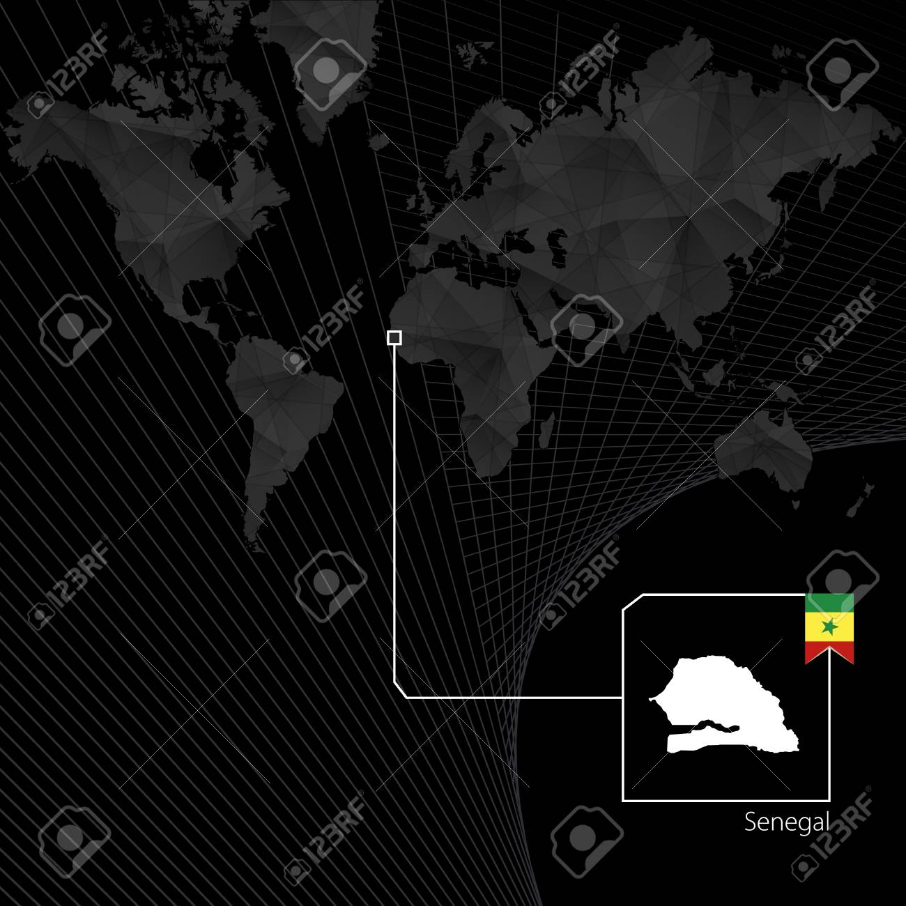 Senegal on black world map map and flag of senegal royalty free senegal on black world map map and flag of senegal stock vector 95570193 gumiabroncs Gallery