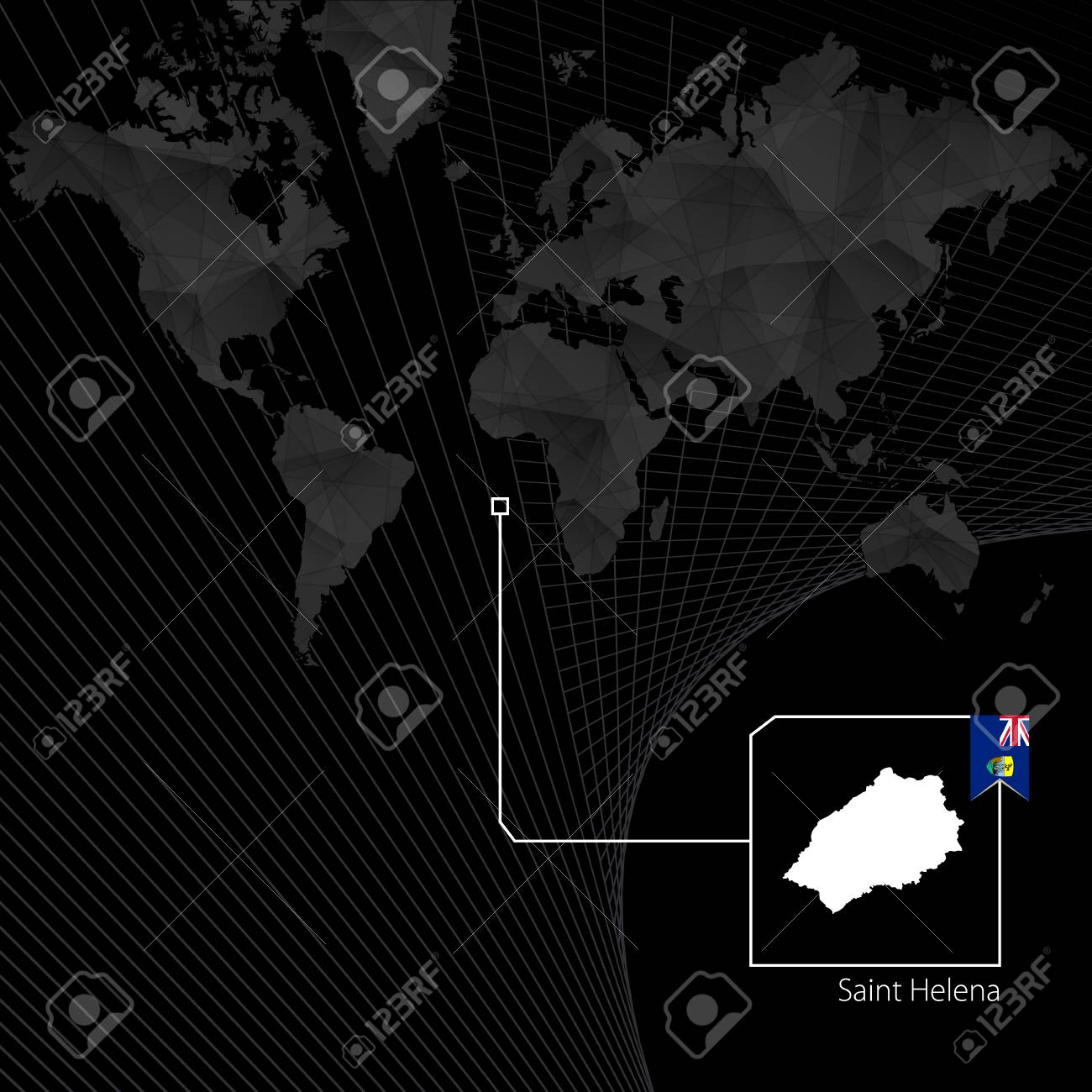 St Helena On World Map.Saint Helena On Black World Map Map And Flag Of Saint Helena