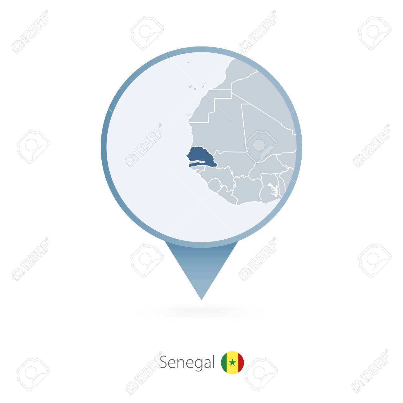 Map pin with detailed map of senegal and neighboring countries map pin with detailed map of senegal and neighboring countries stock vector 96785436 gumiabroncs Choice Image