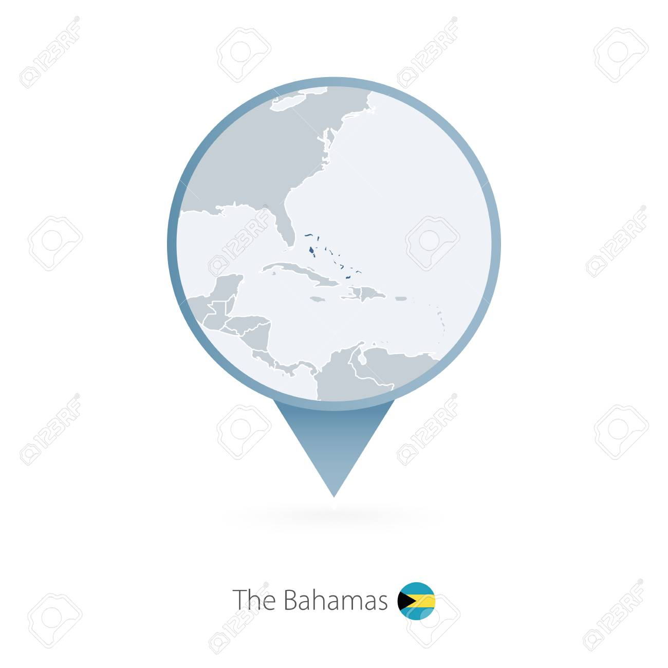 Map pin with detailed map of the bahamas and neighboring countries map pin with detailed map of the bahamas and neighboring countries vector illustration stock gumiabroncs Choice Image