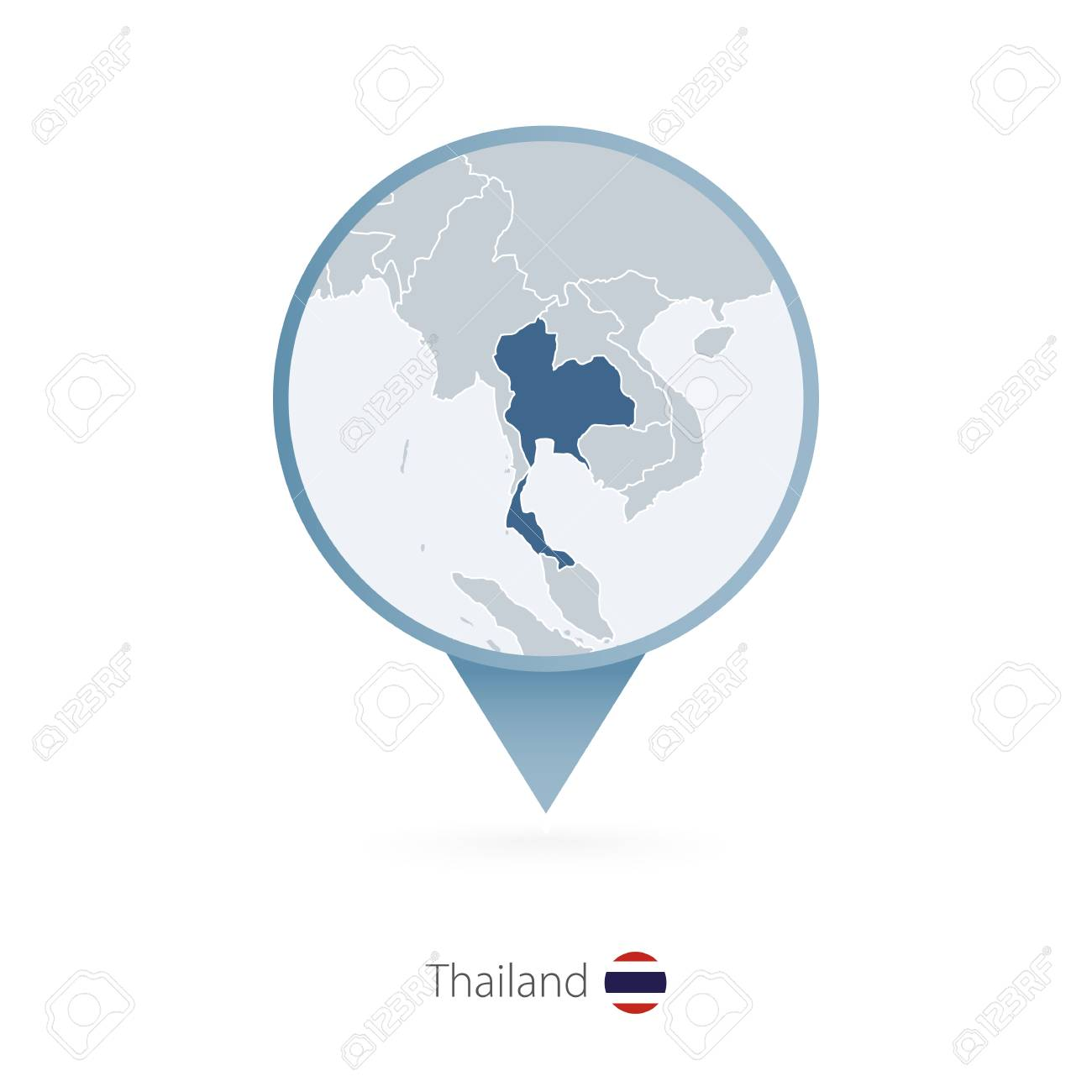 Map Pin With Detailed Map Of Thailand And Neighboring Countries ...