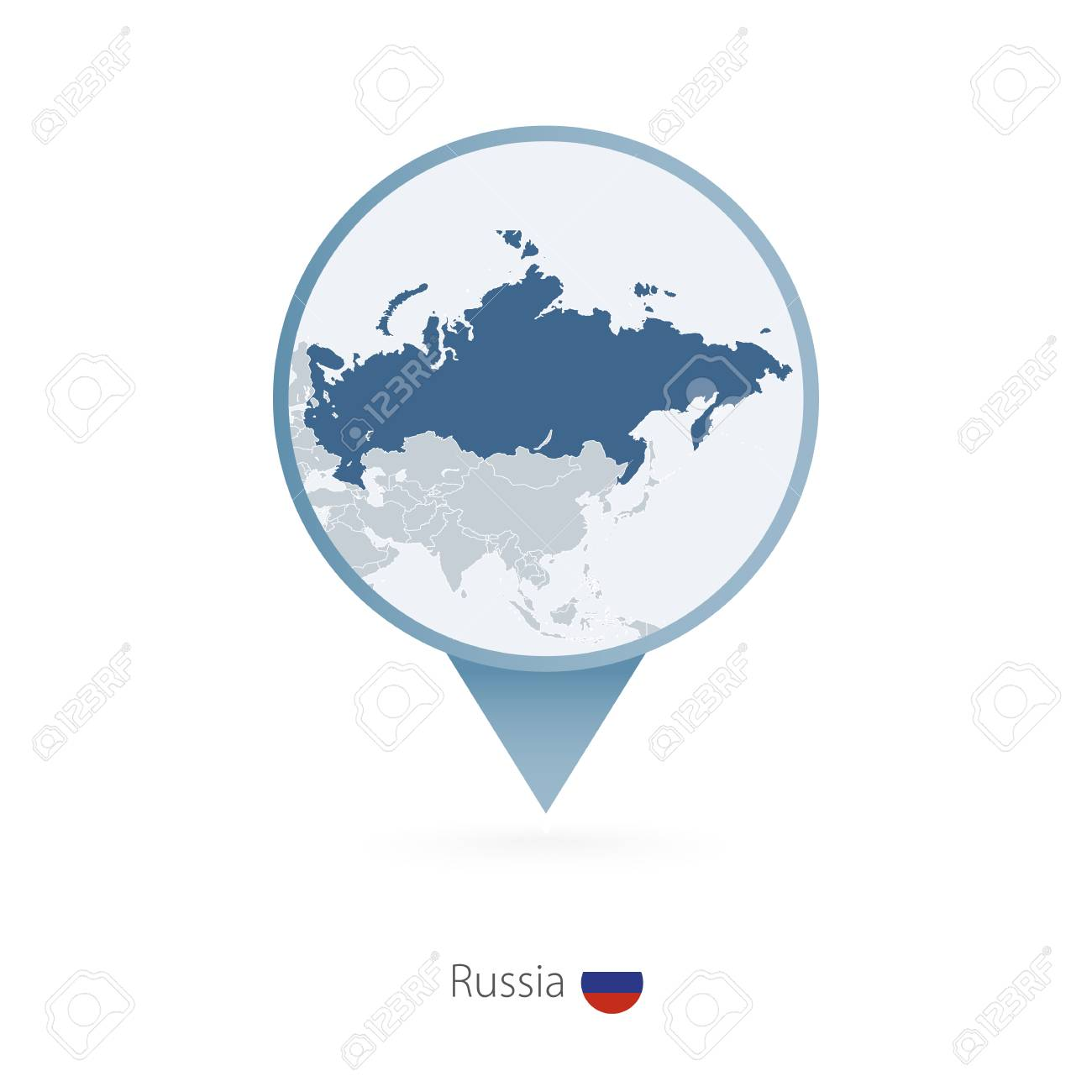 Map Pin With Detailed Map Of Russia And Neighboring Countries