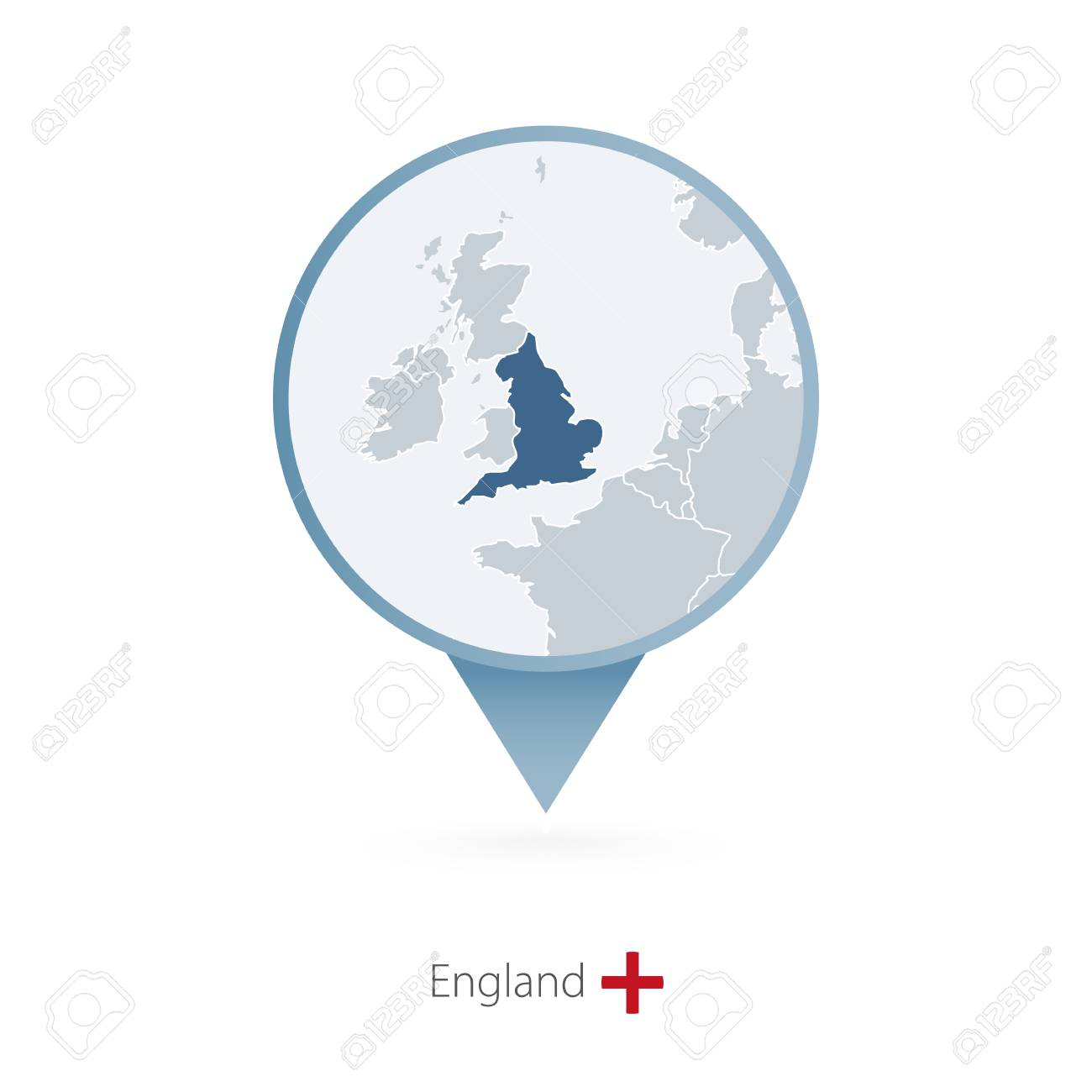 Map Pin With Detailed Map Of England And Neighboring Countries