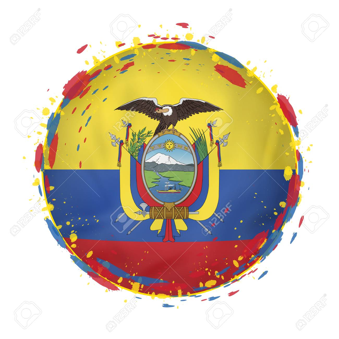 round grunge flag of ecuador with splashes in flag color vector