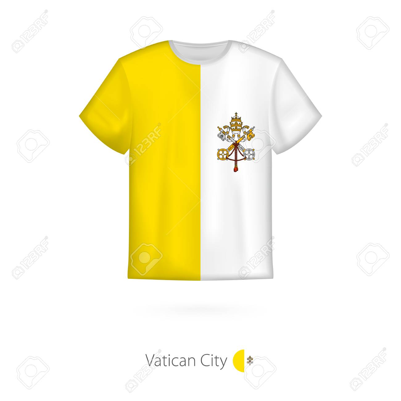 b6cb4dad8 T-shirt Design With Flag Of Vatican City. T-shirt Vector Template ...
