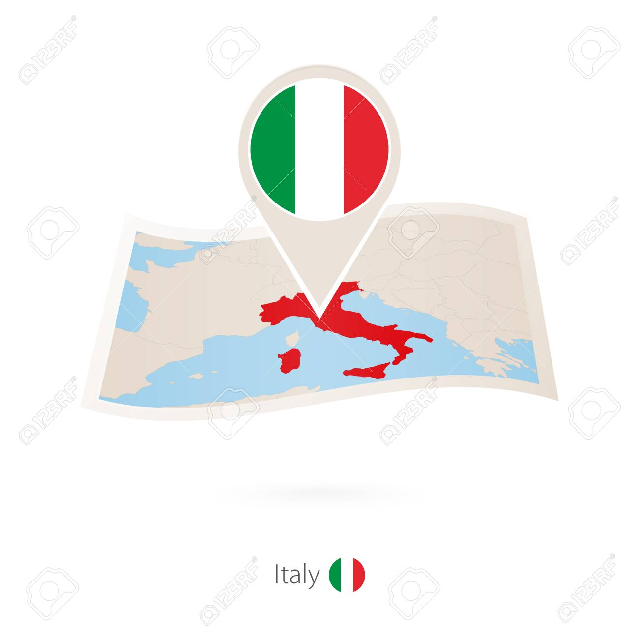 folded paper map of italy with flag pin of italy vector illustration rh 123rf com folded flag vector folded flag vector