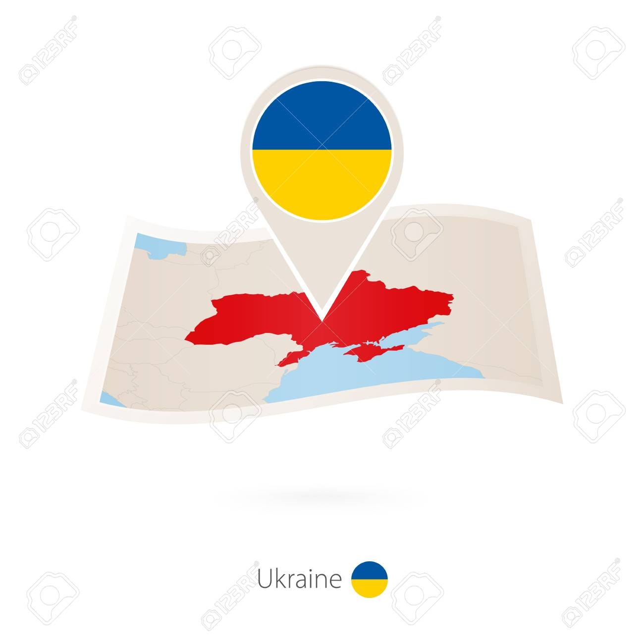folded paper map of ukraine with flag pin of ukraine vector rh 123rf com Folded American Flag Folded Flag and Soldier