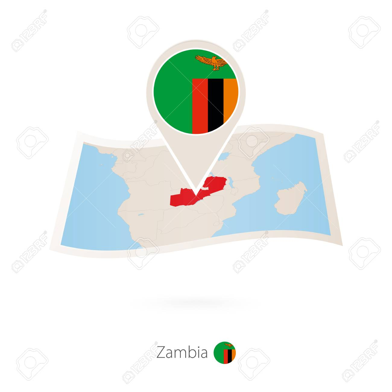 folded paper map of zambia with flag pin of zambia vector rh 123rf com Folded American Flag folded flag vector