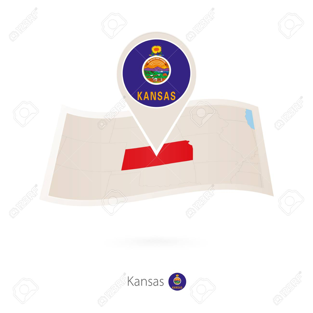 Folded Paper Map Of Kansas U S State With Flag Pin Of Kansas