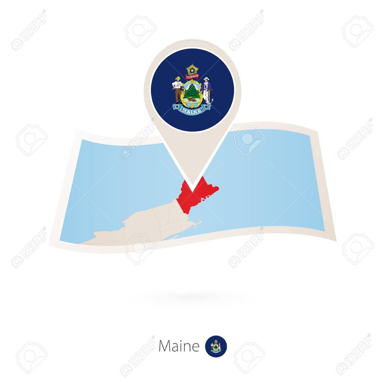 Folded paper map of Maine U.S. State with flag pin of Maine... on map of ogunquit maine, earthquake maine, state map maine, walmart maine, united states maine, google maps maine,