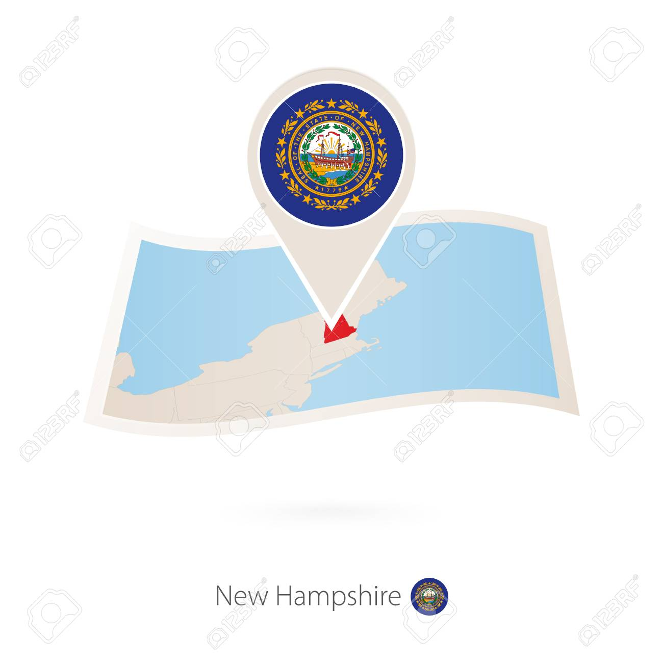 Folded Paper Map Of New Hampshire U S State With Flag Pin Of