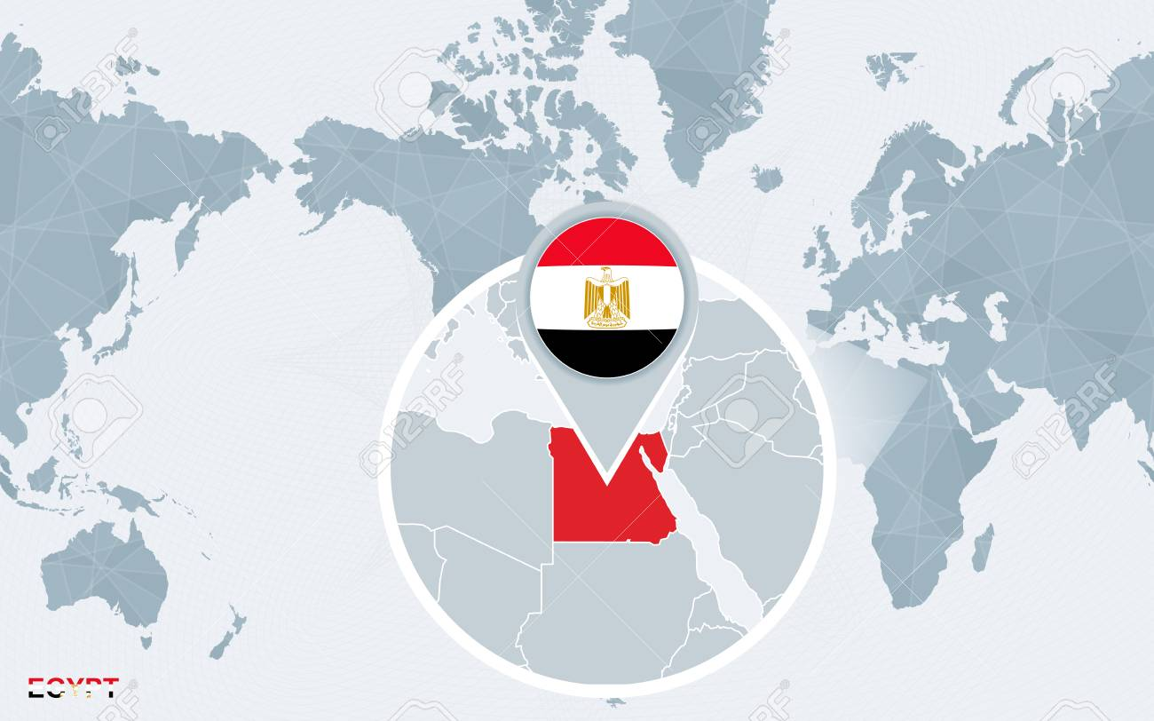 World map centered on America with magnified Egypt. Blue flag..