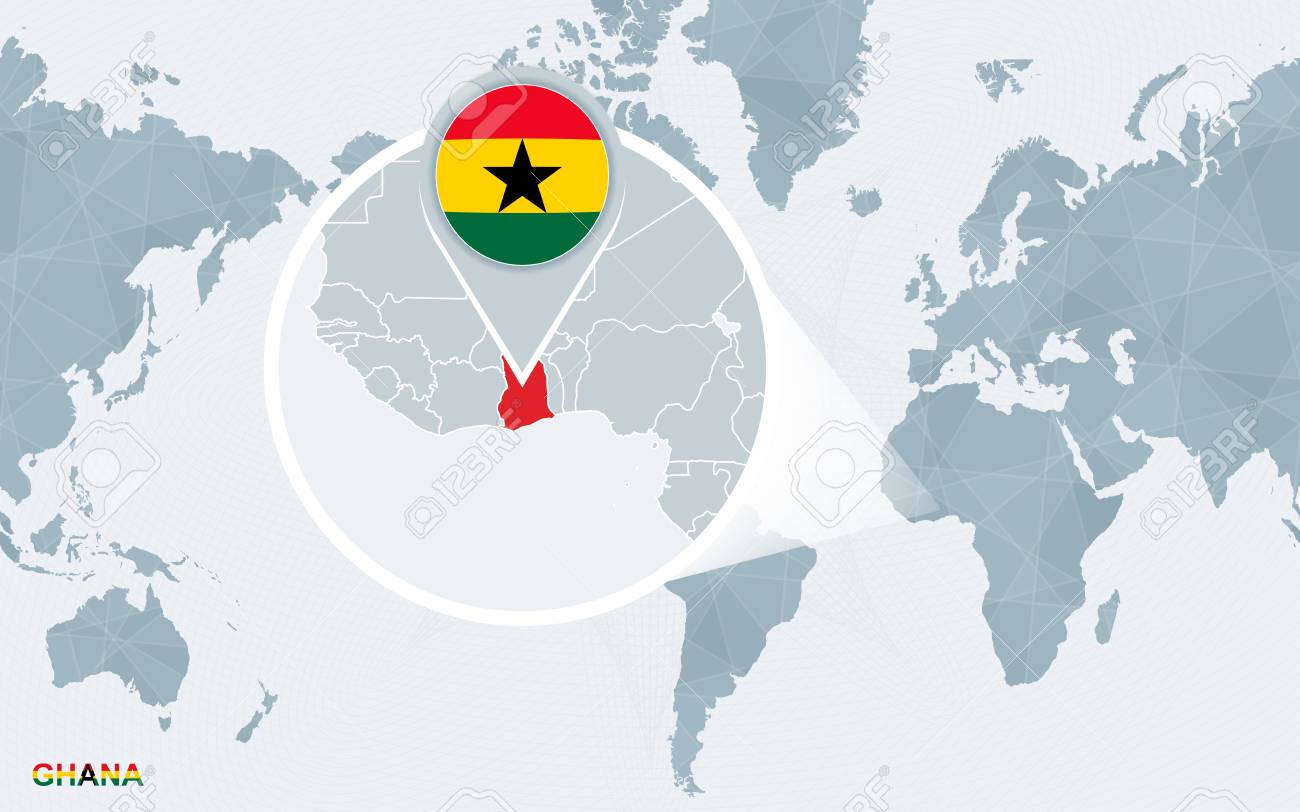 Ghana On A World Map.World Map Centered On America With Magnified Ghana Blue Flag