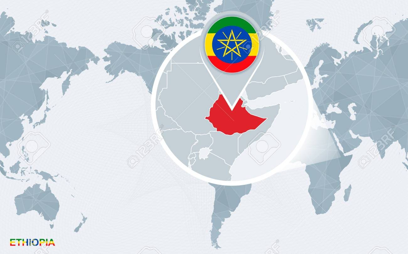 Picture of: World Map Centered On America With Magnified Ethiopia Blue Flag Royalty Free Cliparts Vectors And Stock Illustration Image 102155342