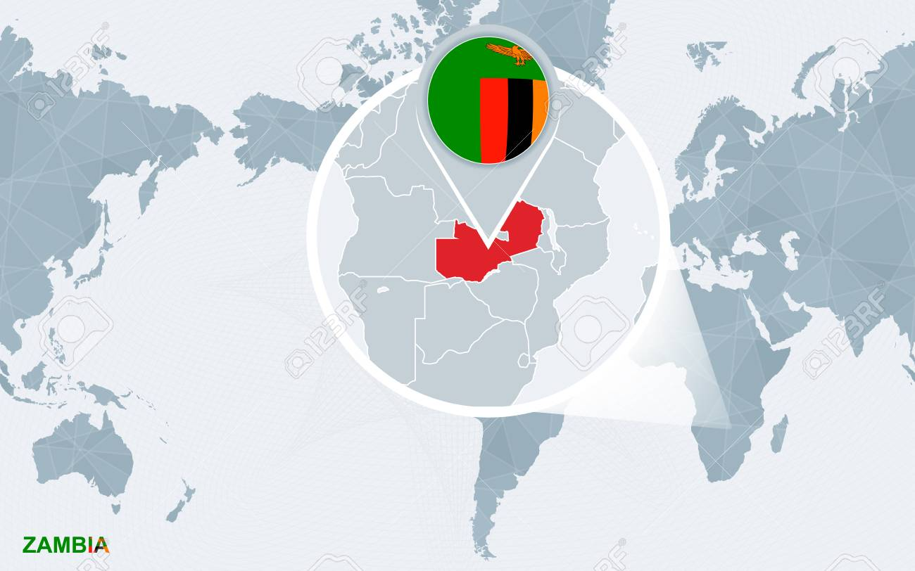 World Map Centered On America With Magnified Zambia. Blue Flag ...