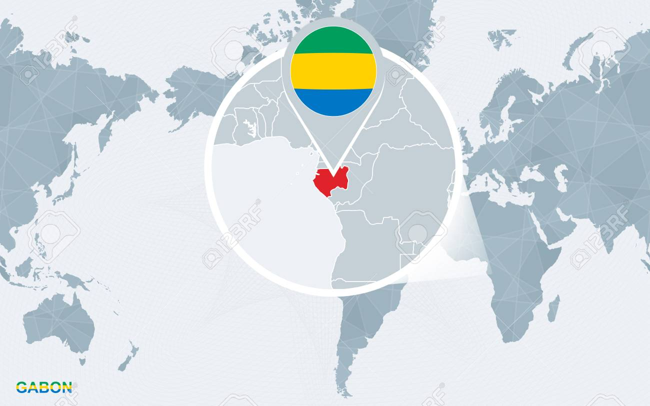 Gabon World Map.World Map Centered On America With Magnified Gabon Blue Flag