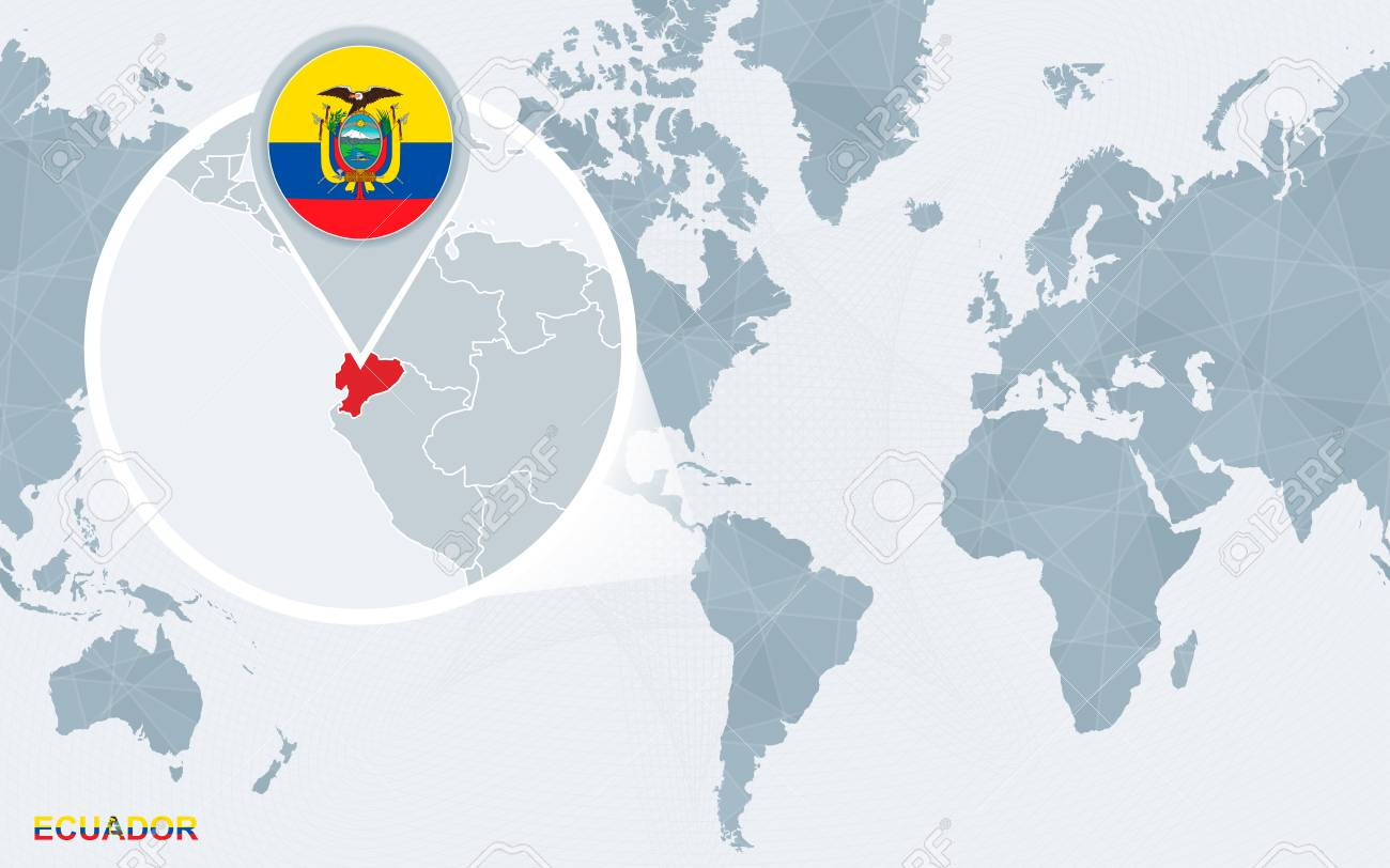 Location Of Ecuador On World Map.World Map Centered On America With Magnified Ecuador Blue Flag