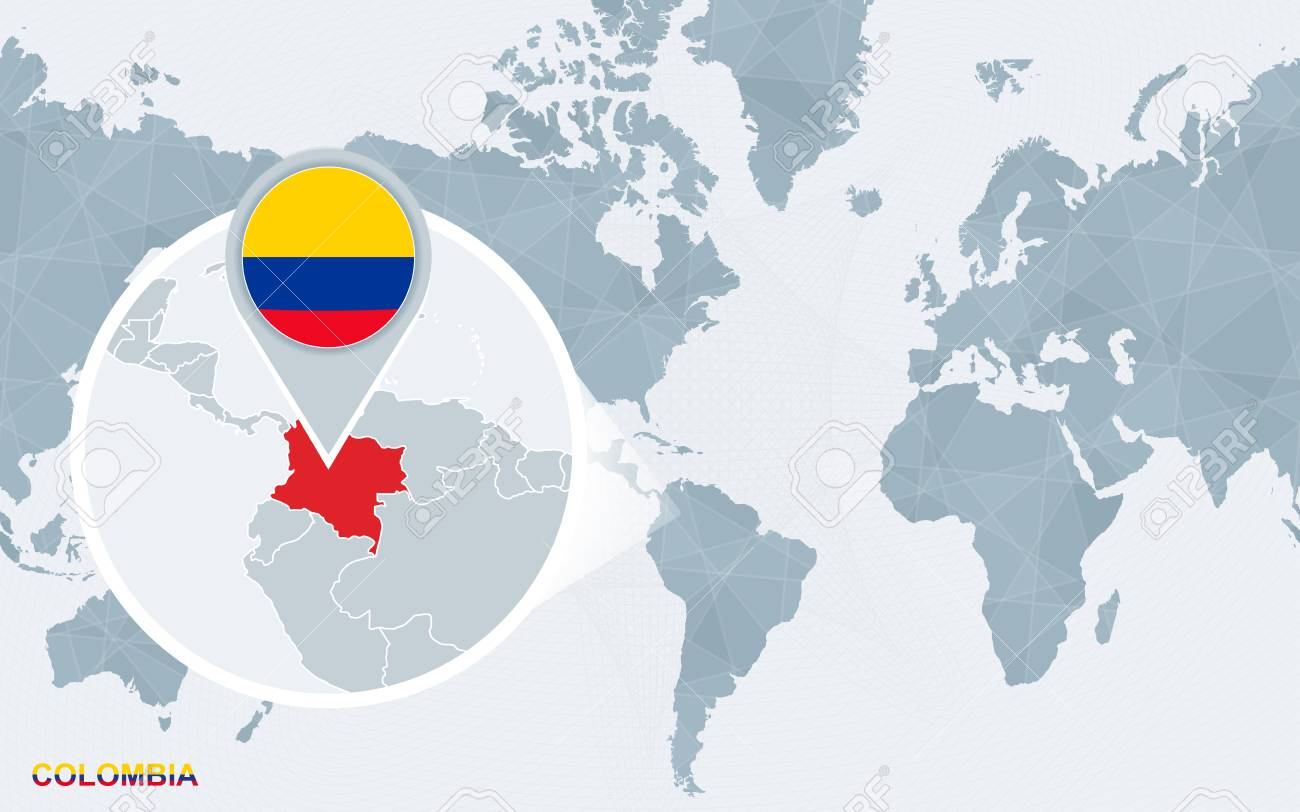 World map centered on America with magnified Colombia. Blue flag..