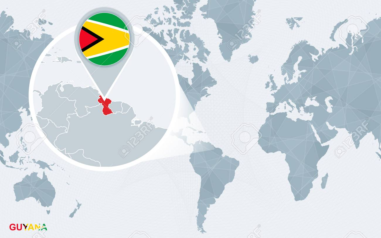 Where Is Guyana Located On The World Map.World Map Centered On America With Magnified Guyana Blue Flag