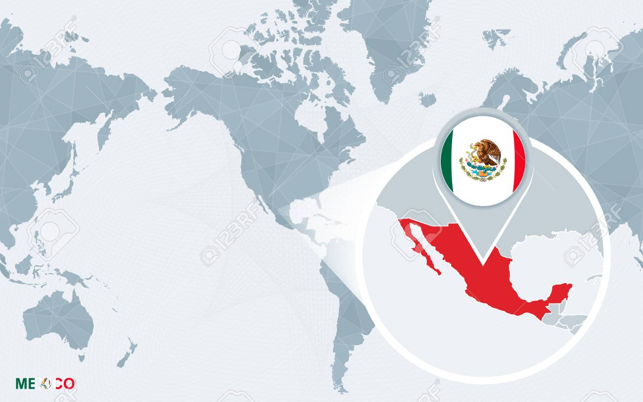 World map centered on America with magnified Mexico. Blue flag..